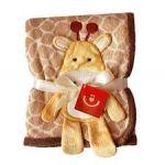 Dětská deka - 3D aplikace hnědá žirafka