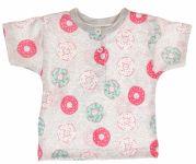 MBaby Bavlněné Polo tričko s krátkým rukávem Donuty vel. 74 - šedé