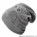 BABY NELLYS Jarní/podzimní čepice Sovička - šedý melírek