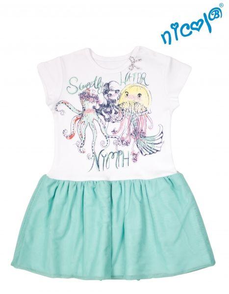 Dětské šaty Nicol, Mořská víla - zeleno/bílé, vel. 116
