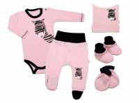 Baby Nellys 5-ti dílná soupravička do porodnice Zebra - růžová, vel. 68