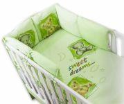 Baby Nellys Povlečení s polštářkovým mantinelem Sweet Dreams by TEDDY - zelený