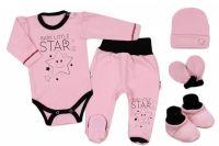 Baby Nellys 5-ti dílná soupravička do porodnice Baby Little Star - růžová, vel. 68, K19
