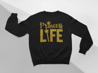 KIDSBEE Moderní dětská dívčí mikina Princess Life -  černá, vel. 110