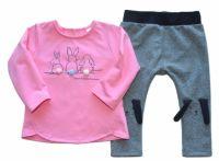 K-Baby Tepláková souprava Best Friends - růžová/melírek grafit