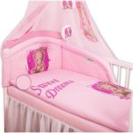 Baby Nellys Mantinel s povlečením Sweet Dreams by Teddy - růžový