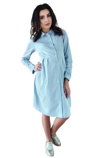 Be MaaMaa Těhotenské šaty/tunika dl. rukáv - modré, vel. XL