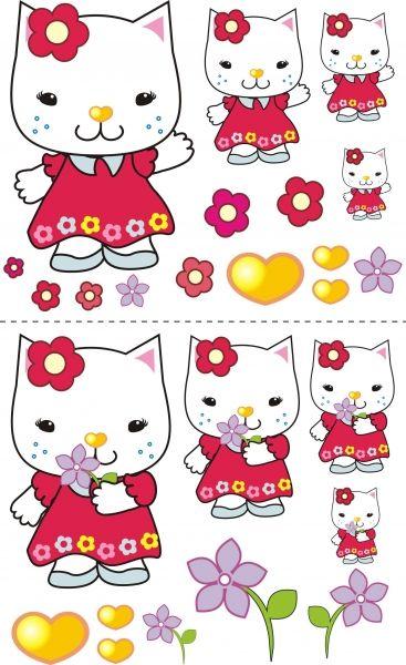 NELLYS Nálepky, dekorace na stěnu 70x100 cm - Kočička s kytičkou