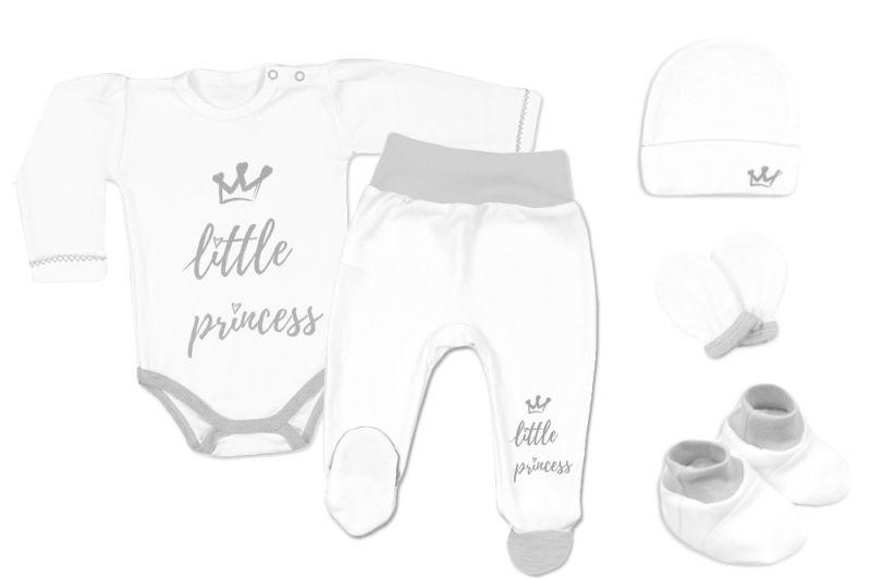 Baby Nellys 5-ti dílná soupravička do porodnice Little Princess, vel. 62 - bílá