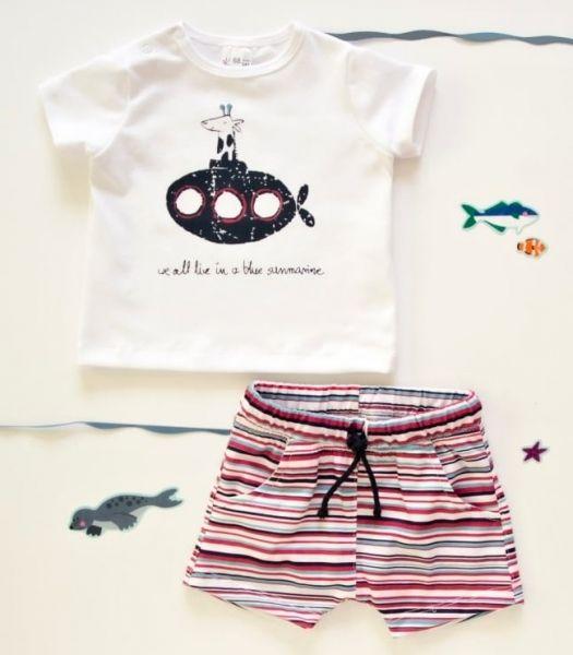 K-Baby 2 dílná dětská sada, triko s kraťasky For Boy - proužky červené, modré, vel. 74