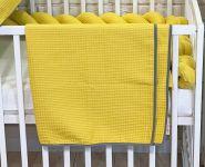 BABY NELLYS Dětská, kojenecká deka 90 x 90 cm - vaflová, hořčicová