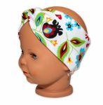 Baby Nellys Hand Made Bavlněná čelenka - dvouvrstvá, Louka - růžovo/bílá, 44-48cm
