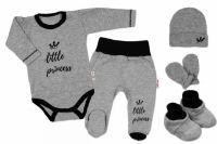 Baby Nellys 5-ti dílná soupravička do porodnice Little Princess, vel. 62 - šedá