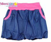Mamitati Balónová sukně NELLY  - jeans denim granát/ růžové lemy,vel. XL/XXL
