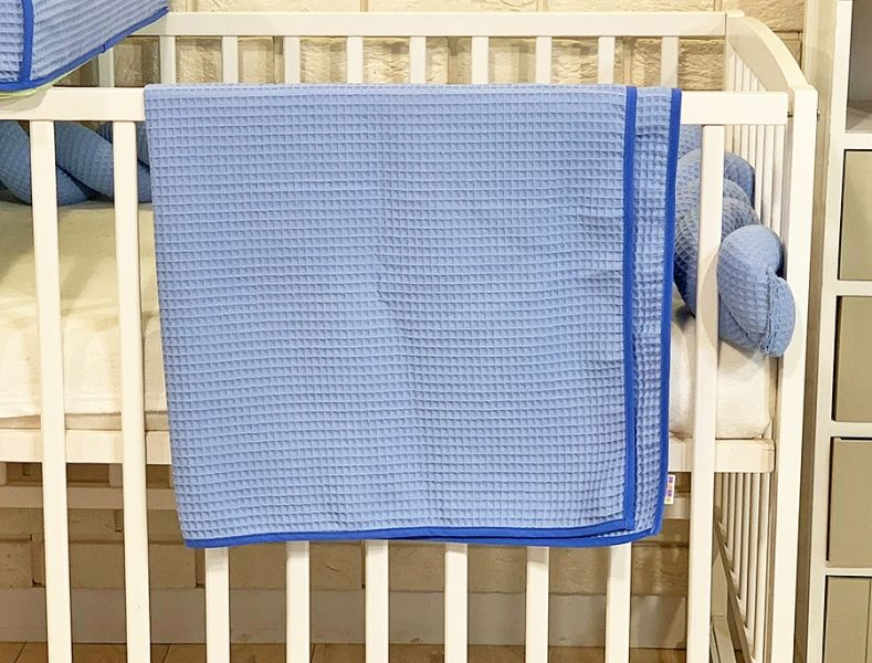 BABY NELLYS Dětská, kojenecká deka 90 x 90 cm - vaflová, modrá