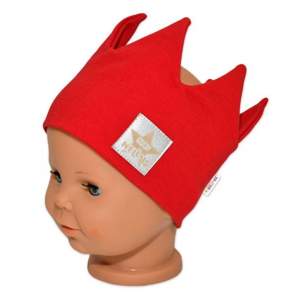 Baby Nellys Hand Made Bavlněná čelenka - dvouvrstvá, Korunka - červená, 3-7let