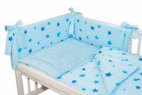 Baby Nellys 3-dílná sada mantinel s povlečením Minky Baby Stars - sv. modrá, K19