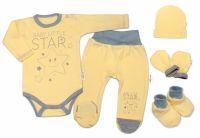 Baby Nellys 5-ti dílná soupravička do porodnice Baby Little Star - žlutá, vel. 68, K19