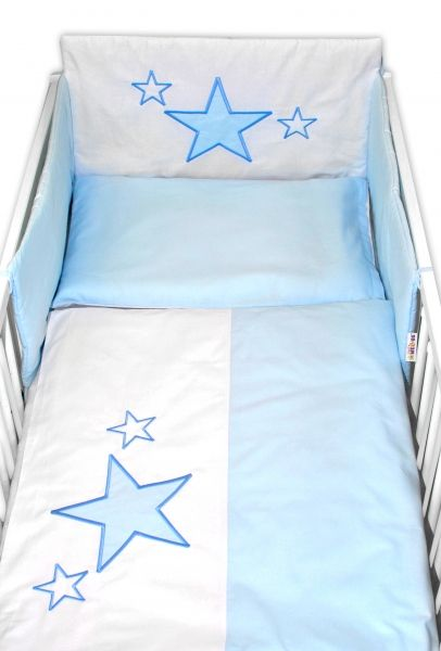 Baby Nellys 5-dílná sada do postýlky Baby Stars - modrá, vel. 135x100 c