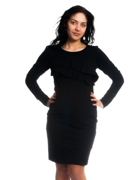 Be MaaMaa Těhotenské/kojící šaty s volánkem, dlouhý rukáv - černé, vel. XL