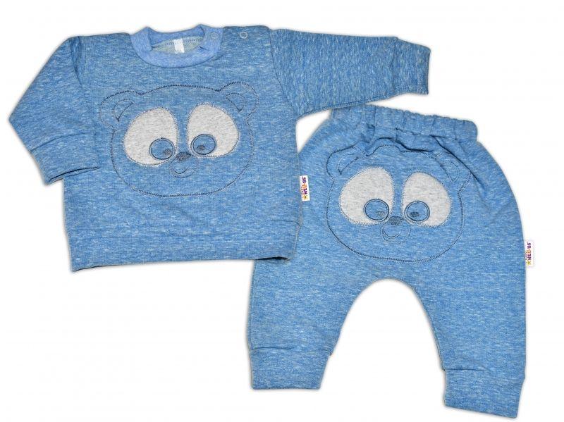 Tepláková souprava Baby Nellys - Medvídek - modrý melír, vel. 68