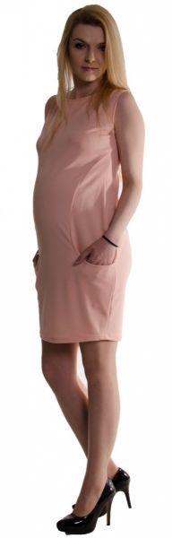 Be MaaMaa Těhotenské letní šaty s kapsami - pudrově růžové