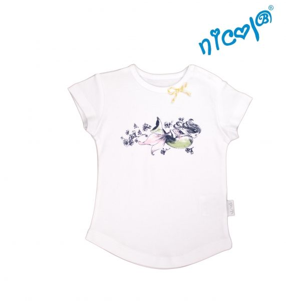 Kojenecké bavlněné tričko Nicol, Mořská víla - krátký rukáv, bílé, vel. 68