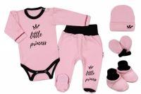 Baby Nellys 5-ti dílná soupravička do porodnice Little Princess, vel. 62 - růžová
