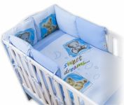 Baby Nellys Povlečení s polštářkovým mantinelem Sweet Dreams by TEDDY - modrý