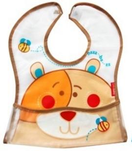 BOBO BABY Dětská zástěrka, bryndák Medvídek - hnědý