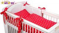 Baby Nellys Mantinel s povlečením MINKY BABY - červené hvězdičky