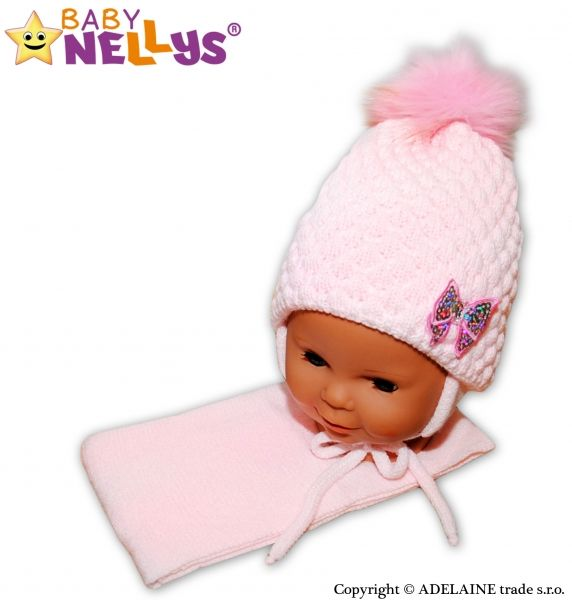 BABY NELLYS Zimní čepice/čepička Mašlička - světle růžová