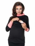 Be MaaMaa Těhotenské a kojící tričko - černo/korálové