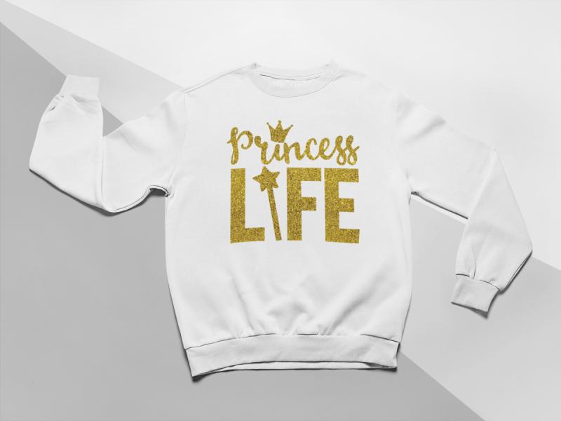 KIDSBEE Moderní dětská dívčí mikina Princess Life - bílá, vel. 122