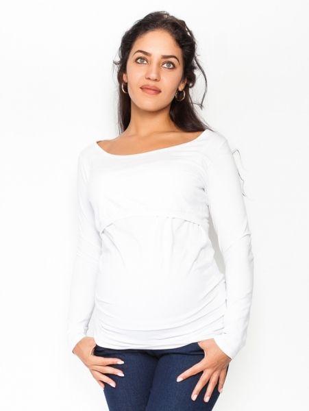 Be MaaMaa Těhotenské, kojící triko/halenka dlouhý rukáv Siena - bílé, vel. XL