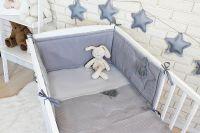 Baby Nellys 3 dílná sada Mantinel s povlečením vafelek - šedá, 135 x 100 cm