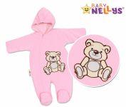 BABY NELLYS Kombinézka/overálek Teddy Bear, velikost: 74 - růžová