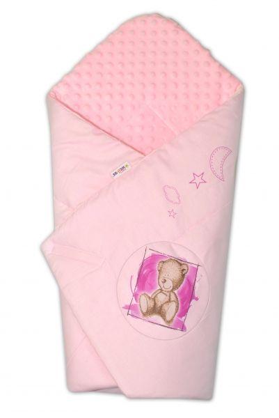 Baby Nellys Zavinovačka, bavlněná s minky 75x75cm by Teddy - sv. růžová, sv. růžová