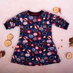 K-Baby Dívčí bavlněné šaty, Ovoce - granátové, vel. 74