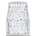 3-dílné ložní povlečení New Baby 90/120 cm bílé hvězdy šedé 33697