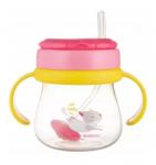 Canpol babies Hrníček sportovní se slámkou a závažím 250 ml, kočička - růžová