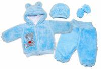 Baby Nellys Chlupáčkový komplet Welsoft Teddy vel. 74 - modrý