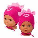 Bavlněná čepička na zavazování Baby Nellys s mašličkami - tm. růžová