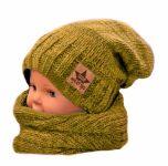 BABY NELLYS Podzimní/zimní čepice s komínkem - hořčicový melír