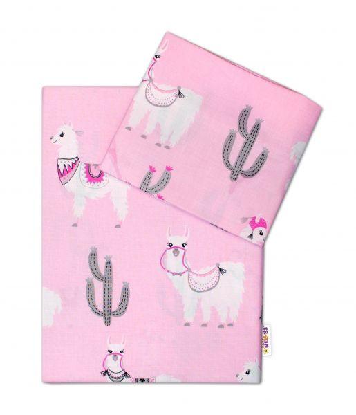 Baby Nellys 2-dílné bavlněné povlečení 135x100, Lama - růžové