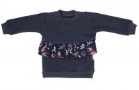 Mamatti Dětská mikina Flowers, s bočním zapínáním - granátová