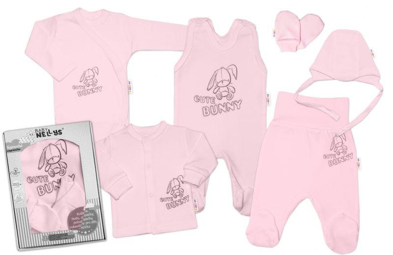 Baby Nellys Velká sada do porodnice CUTE BUNNY, 6-ti dílná v krabičce - růžová, vel. 62