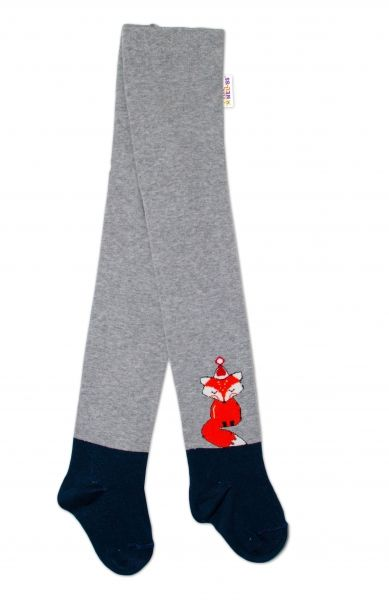 Baby Nellys Dětské punčocháče bavlněné, Fox, šedé-granát, 1ks