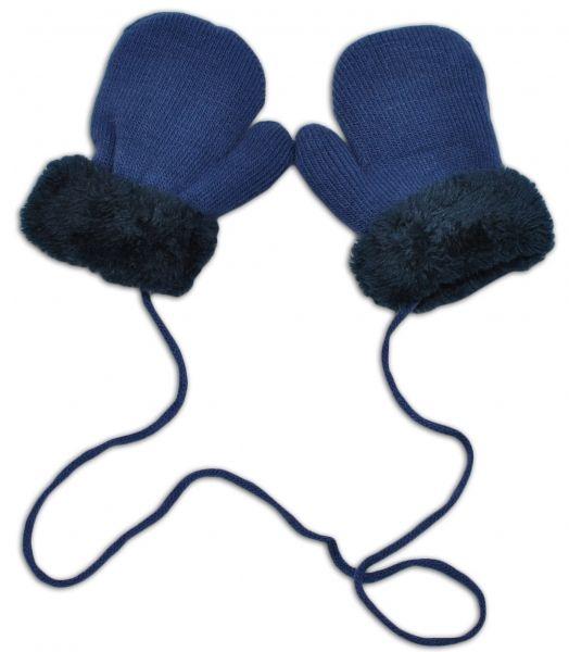 YO ! Zimní kojenecké rukavičky s kožíškem - se šňůrkou YO - jeans/granátový kožíšek