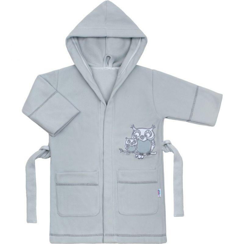 Dětský župan New Baby Sovičky šedý 33016